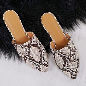 Shoes - IVORY SNAKE PRINT POINTY TOE SLIP ON FLAT MULES